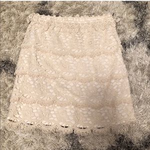 Loft Skirt, Size 2,  cream colored and lace
